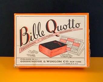 Vintage BIBLE QUOTTO Quote Game 1940's 1950's LOTTO Bingo