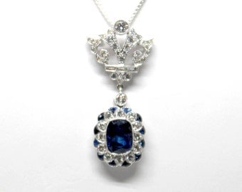 18k White Gold Art Deco Sapphire and Diamond Pendant 2.85ct  Vintage