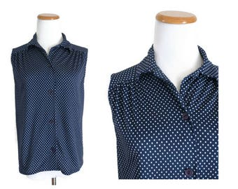 Polka Dot Blouse Sleeveless Top 70s Shirt Navy Blue Button Up 1970s Size Small S Work Blouse