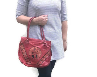 vintage red leather tote / boho red leather bag / boho leather tote purse / Moroccan leather tote bag
