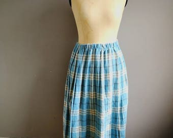 Pale blue wool skirt / light blue tartan skirt / elastic wool skirt / vintage winter skirt / pastel plaid skirt