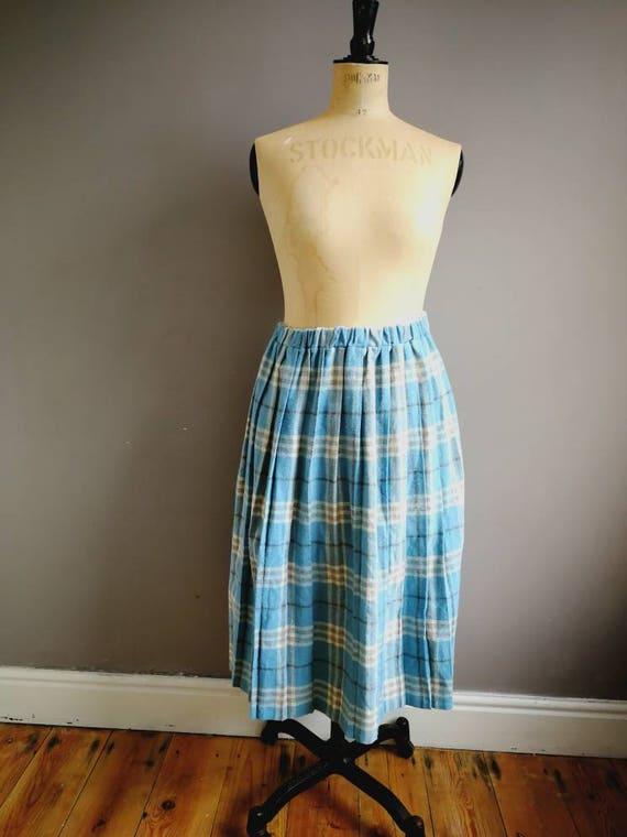 Pale blue wool skirt / light blue tartan skirt / elastic wool skirt / vintage winter skirt / pastel plaid skirt