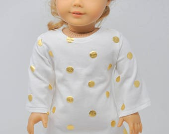 Gold Polka Dot Bell Sleeve Dress     18 Inch Doll Clothes