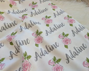 Personalized baby name floralswaddle blanket: baby and toddler personalized name newborn hospital gift baby shower gift