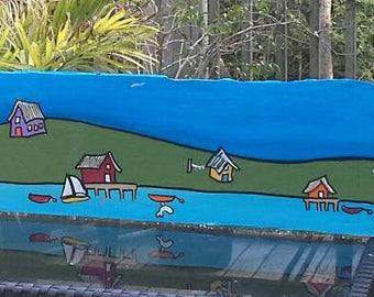 Nova Scotia Folk Art.   'On The Bay'