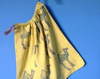 Handprinted handmade linen drawstring bag