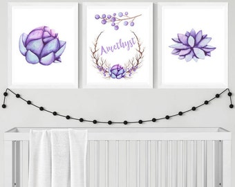Flower Nursery Printable Art, Custom Digital Print, Set of 3, CUSTOM Download Digital File 8x10 Digital Print