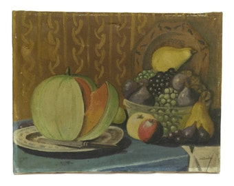 French Country Art Fruit Still Life Painting. Rustic Kitchen Wall Art.