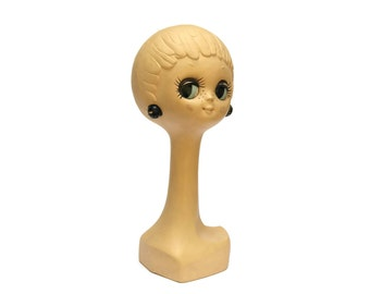 French Vintage Twiggy Hat Stand. Vintage Head Mannequin Wig Stand.