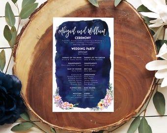 Navy Wedding Programs - Floral Watercolor Ceremony Programs - Printable or Printed