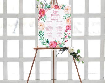 Floral Wedding Party Sign for a Pink Garden Wedding
