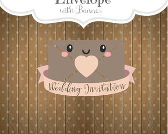 Envelope with Banner Cookie Cutter