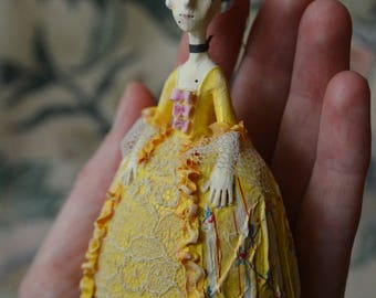 Madame D*, OOAK miniature doll, Tiny hanging doll, Miniature Art Doll, hanging art doll, Rococo, doll ornament, collectible doll