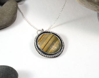 """Bumble Bee Jasper """"Saturn"""" Planetary Pendant, Sterling Silver Necklace, Jasper Necklace"""