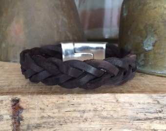 Rustic Dark Brown Braided Leather Bracelet with Strong Magnetic Clasp