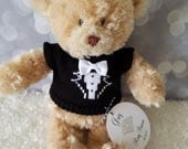 "Ring Bearer Gift, Golden Brown 12"" Plush Teddy Bear, Personalized Gift, Wedding Keepsake"