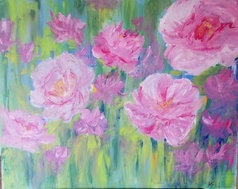 Pink Peony Garden original acrylic painting 24×30