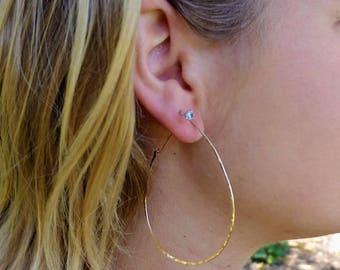 Gold Fill, or, Sterling Silver, Hoop Earrings, Hammered Hoops, Hoop Earrings, Hammered Earrings, Silver, Earrings, Teardrop, Dainty Hoops