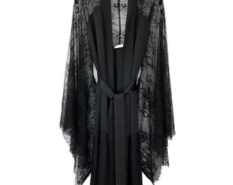 Kimono robe, black french lace and pure silk satin, lingerie kimono robe,boudoir, gift for women