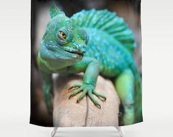 Reptile Shower Curtain, Reptilia Shower Decor, Animal Curtain, Green Bathroom Curtain, Geckos Shower Curtain, Animal Bathroom Decor