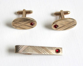 Cuff Link Set, Tie Clip Set, Gold Cuff Link Set, Gold Tie Clip Set, Red Cuff Link Set, Red Tie Clip Set, Groom Cuff Link Set, Red Cuff Links