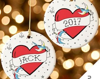 Personalized 2017 Christmas Ornament, Tattoo Christmas Ornament, Custom Tattoo Christmas Ornament, Swallow Tattoo, Sparrow Tattoo