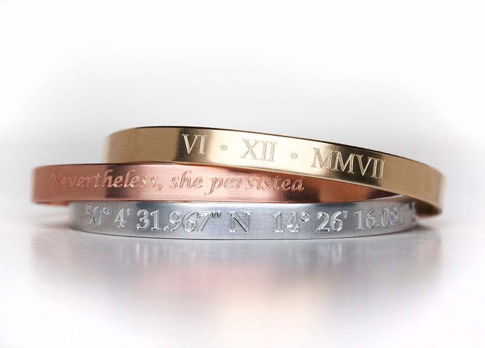 Custom Engraved Bracelet Personalized Jewelry Copper