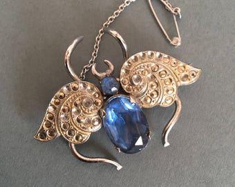 Vintage Brooch Pin Blue Beetle Butterfly Paste Marcasite Art Deco