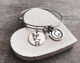 Darby the deer, deer, deer Bracelet, deer Jewelry, Silver deer, Tiny deer, teenager, Silver Bracelet, Charm Bracelet, Silver Jewelry, Gifts
