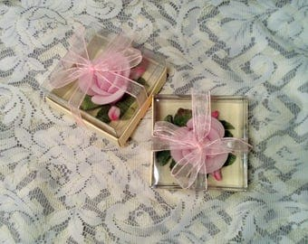 Set of 2 Pink Rose or Flower Candles - Wedding Floating Candles - Table Centerpiece Decor