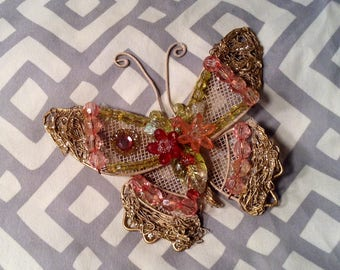 Jeweled Butterfly - Window Sun Catcher, Miniature Wall Decor - Craft, DIY, Put on Wreath - Easter, Springtime Pink & Purple Butterfly