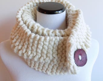 Knit White Cowl with Button - Off-White Cowl - Cream Hand Knit Neckwarmer - Knitted Ecru Color Cowl - Chunky Big Button Cowl