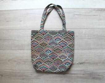 Vintage 80s bohemian tapestry embroidered tote bag, for groceries, books, shopping etc.