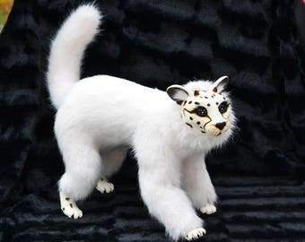 White Cheetah, fashion Art Doll, jointed, animal fur, BJD doll, resin, ocelot cat