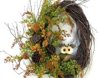 Owl Wreath, Summer Wreath, Fall Wreath, Owl Floral, Rustic Wreath, Woodland Wreath, Owl, Lotus Pods, Spring Wreath, Birch Wreath, Owl Decor