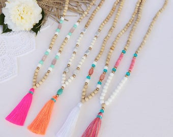 Pretty beaded tassel necklace, with natural wooden beads and resin colored beads - pink , coral, white or mixed colored tassel