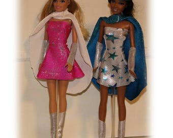 Fits like Barbie Clothes. Super Hero for Play. Child imagination gift. Dress, Cape, Wristlets, Boots and Headband. Girl Toy Gift.