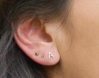 Solid Gold Letter Earrings