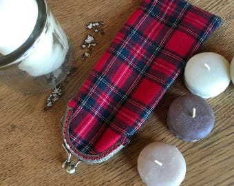 eyeglass case red plaid.