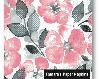 4 Decoupage Napkins, Paper Napkins, GENTLE FLOWERS PINK, 33cm 13 Inch. Light Pink Flowers with Grey Spotted Leaves.