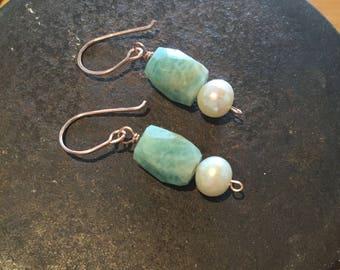 Amazonite Freshwater Pearl Rose Gold Filled Earrings