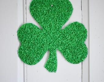 Melted Plastic Popcorn Shamrock Wall Decor, Retro Plastic St. Patrick's Day Sign, Green Irish Clover Plastic Wall Hanging Door Hanger Window
