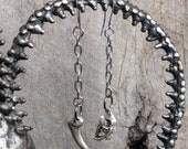 Saber Tooth Tiger - Claw - Earrings - Skull - Talon - Chain - Goth - Long - Silver - Bronze - Witchy - Dark - Macabre