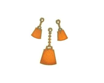 Cowbell Rusty Metal Pendant/Charm And Earrings 3-Piece Set