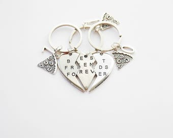 3 BFF Keychains, 3 Best Friends Forever Pizza Slice Keychains, 3 Friendship Key Rings BFF Gifts 3 Heart Puzzle Keyrings