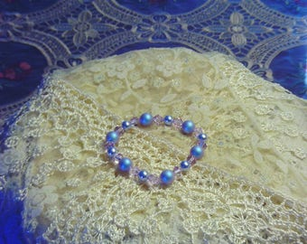Girls Fields of Violet Blue Bracelet Featuring Swarovski Pearls and Crystals