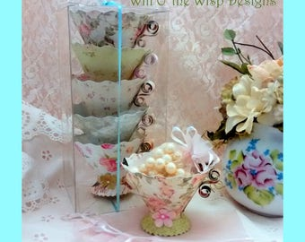 Afternoon Tea- Paper Teacups-Box set of 5 -Alice in Wonderland- Tea Party Favors, Nut & treat Cups- Available with Gift Bags option