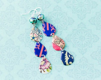 Long Multicolored Lightweight Recycled Tin Teardrop Boho Style Patchwork Earrings with Faceted Beads