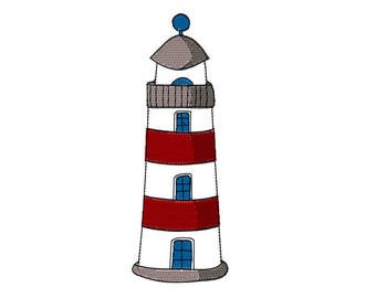 Lighthouse  Applique Machine Embroidery Design. Light house instant download. Beach, nautical  embroidery design. Bean stitch lighhouse