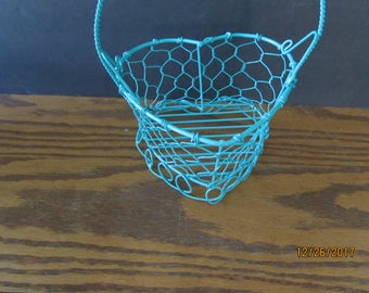 Wedding heart wire Flower Girl Basket teal